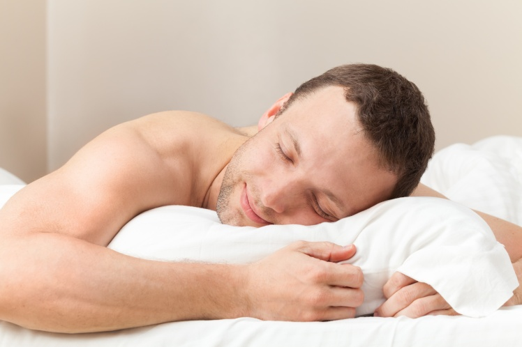 Portrait of pleased sleeping Young Caucasian man